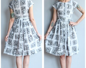 1950s Dress // Flower Box Dress // vintage 50s dress