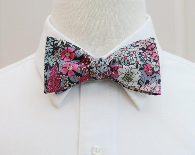 Men's Bow Tie, Liberty of London, pink/raspberry/grey/wine floral Ciara print bow tie, groom/groomsmen bow tie, wedding tie, tux accessory