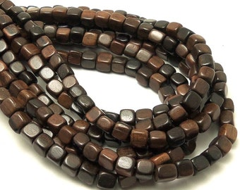 Ebony Wood, 5mm - 6mm, Cube, Medium to Dark Brown, Natural Wood Beads, Square, Smooth, Small, Full Strand - ID 1737