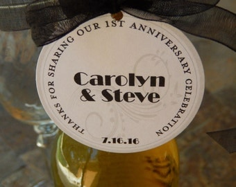"Anniversary Celebration 2"" Custom Thank You Favor Tags (50) - for Mini Wine or Champagne or Liquor Bottles - Mason Jar or Cookie Favor Gifts"