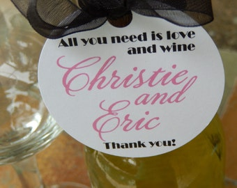 """50 Mini Wine Bottle Custom 2"""" Favor Tags - all you need is love... and wine - Engagement - Wedding - Anniversary Thank You Gift Tags"""