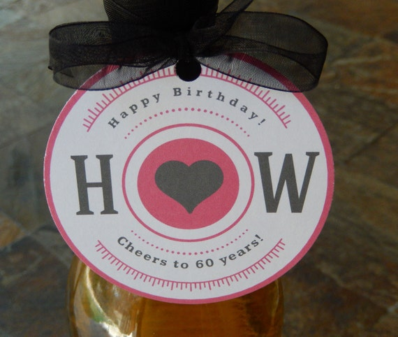 """Birthday Heart Custom 3"""" Favor Tags - Cheers to 60 Years! - for Wine, Champagne, or Liquor Bottles - (50) Initials Retro Gift Favor Tags"""
