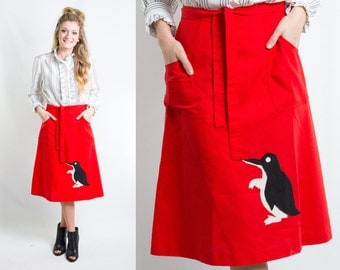 Vintage 1970s Red Wrap Skirt w/ Black White Penguin Applique and Pockets * 70s Preppy Knee Length Kitsch * Size Medium Large * FREE SHIPPING
