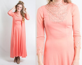 Vintage 1970s Peach Coral Rhinestone Maxi Dress & Duster Set // Disco Performance Two Piece Co-ord Vest // Size XS Small // FREE SHIPPING