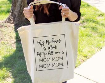 "Large ""Mom Mom Mom Mom""  Tote Bag"