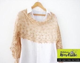Lace shawl knitting pattern - Harathiel Shawl