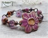 Purple Pink Orchid Rustic Pottery Bracelet