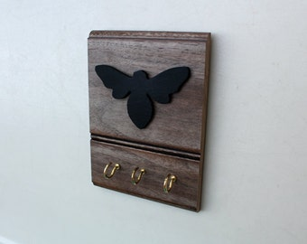 Wall Hook, Reclaimed Wood Hanger with Black Wooden Bee and Hook - upcycled decor, recycled home decor - key holder