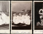 Interesting Series of Cabinet Cards Triplets & Memorial Photo