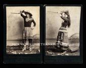 Wonderful Pair of Antique Indian Sharpshooter / Trick Shot Cabinet Card Photos
