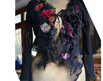 RESERVED for Margie Unique Art To Wear  Lacy Jacket With Silk Velvet Dep Forest BLACK BUTTERFLIES Fairy Gothic Gipsy Tattered