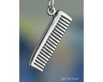 Sterling Silver Comb Charm Hair Hairdresser Stylist Salon Spa .925