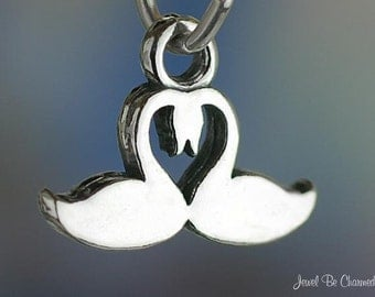 Sterling Silver Swan Charm Silhouette Swans Heart for Love Solid .925