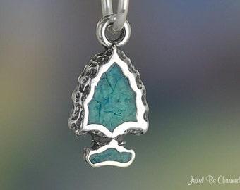 Miniature Sterling Silver Turquoise Arrowhead Charm Arrow Tiny .925