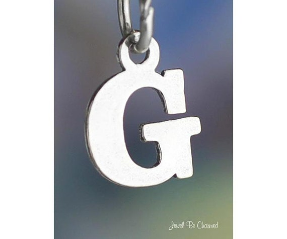 Small Letter G Charm Sterling Silver Alphabet Initial Capital Letters