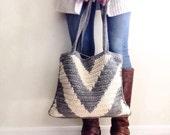 Crochet Pattern, Cool Weather Chevron Bag Pattern, Crochet Bag Pattern, Crochet, Crochet Pattern, Crochet Tote Pattern, Crochet  Winter Bag