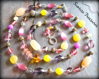 Long Layering Boho Colorful Necklace, Candy Jade, Vintage Glass, Bali Sterling Silver, Colorful Jewelry