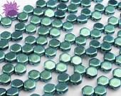NEW Polychrome Motley Viridian Honeycomb Bead, Hexagon Two Hole Bead, Metallic Iridescent Emerald Green Teal Czech Glass Bead, 6mm Geometric