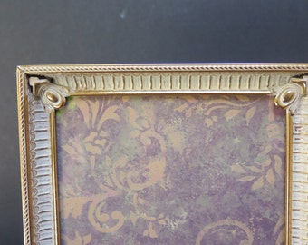 Hollywood Regency Brass and Antiqued White 5 x 7 Picture frame