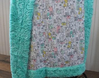 Baby Blanket, Ships Today- Minky baby blanket, girl baby blanket, cats and dogs minky baby blanket, minky blanket 30 x 36