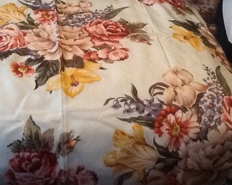 Vintage POLO Scarf RALPH LAUREN Scarf Silk Scarf Large Cream with Various Flowers