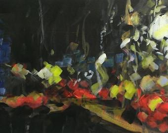 Urban Motorway Night 5. Original Acrylic on Paper Painting