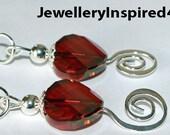 Red Crystal Spiral Earrings. Pentecost Earrings. 925 Sterling Silver Earrings.Heart Earrings.Lever Back Earrings. Vintage Edwardian Style