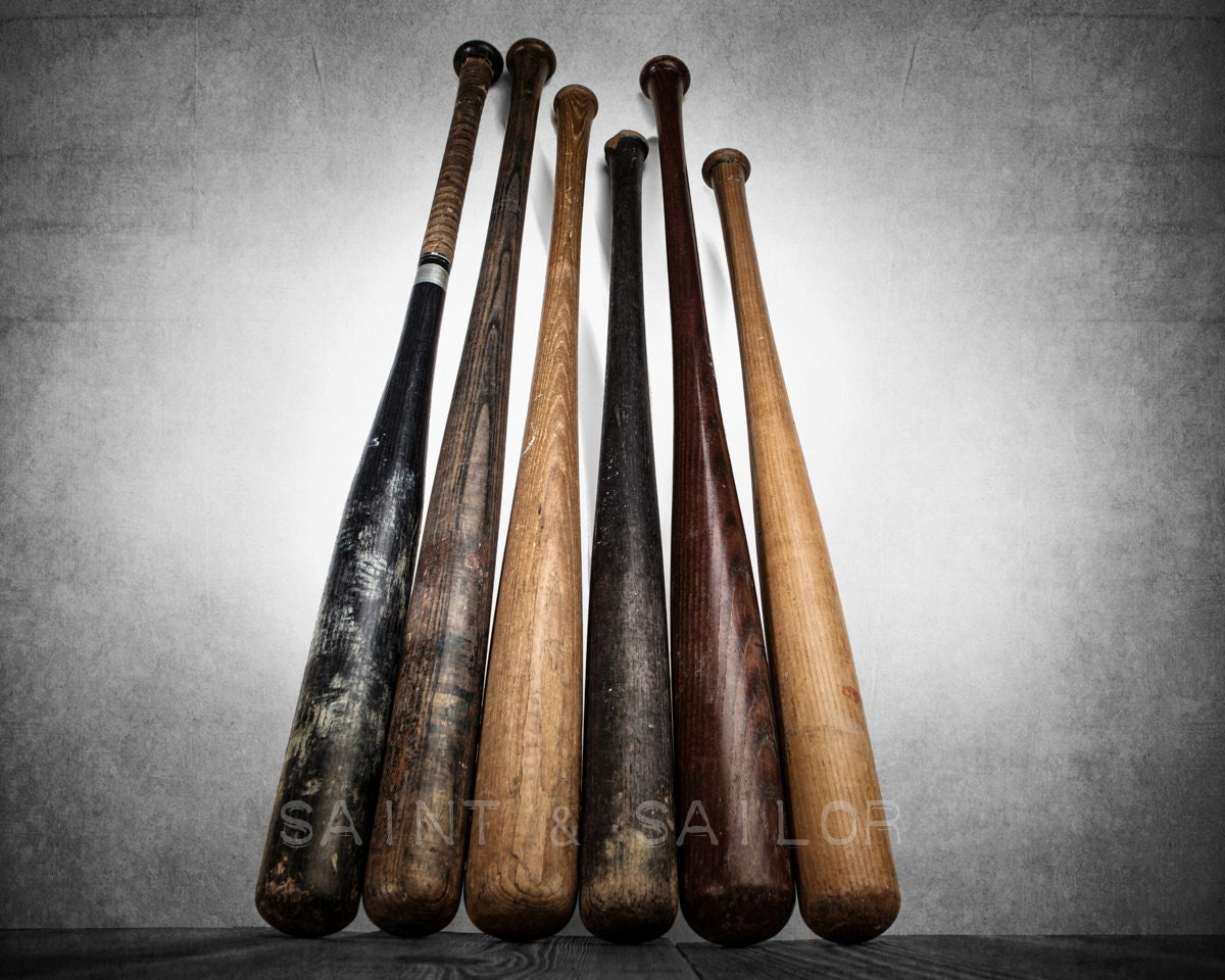Sixvintage Baseball Bats On Wood One Photo Print By