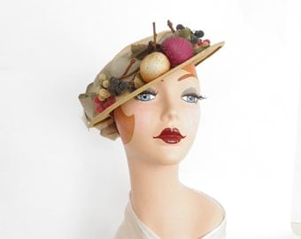 1930s tilt hat, vintage boater with fruit and satin bow.