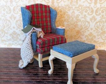 Handmade Rustic Wing Back Chair and Footstool Dollhouse Miniature 1:12 scale by Kelly Morin of FatCatDesigns