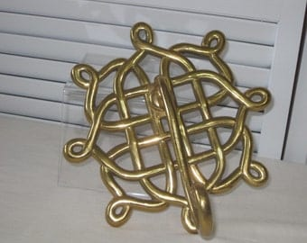vintage Large Brass Decorative Hook - Wall Hanging