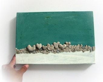 Unique Gift Idea - Wall Art - Pebble Art - Beach House - Stones Art -Heart Beach Rocks - 3D wall decor gift - heart shaped beach stones