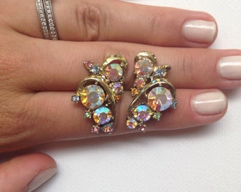 Sparkling Crystal Rhinestone Script and Wave Cluster Earrings - Florence