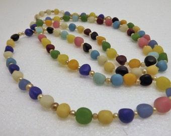 "Vintage Multi-Color Gemstone Extra Long 48"" Beaded Necklace~Vintage 70's Beaded Necklace~Gemstone Necklace"