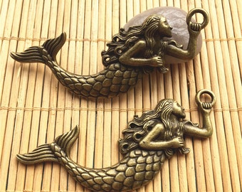 5pcs 85x35mm antiqued bronze plated Large Mermaid findings pendants