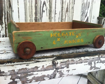 Antique Holgate toy block wagon
