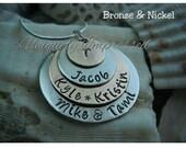 4 Discs NAMES Family Children Parents Grandparents Hammered Jewelry Discs Necklace Uniquely Impressed