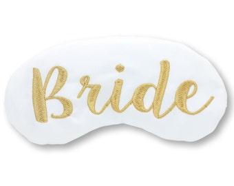 Elegant Classic Bride Sleep Mask Bridal Shower Gift White and Gold Eye Mask Lingerie Shower Bachelorette