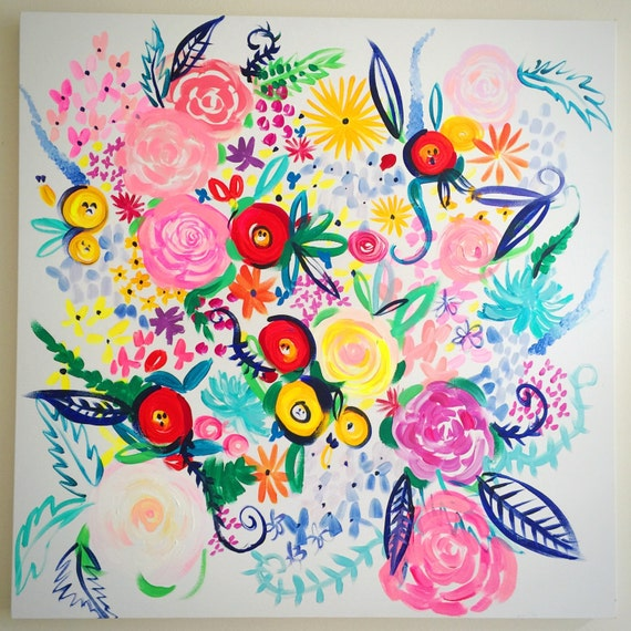 """Colorful and Fun Floral Oil Painting. Original 36""""X36"""""""" Canvas Painting with bright, beautiful abstract florals in fresh vibrant colors."""