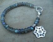 Labradorite Bracelet Handmade Beaded Jewelry Hill Tribe Pendant Sterling Silver Semi Precious Gemstones