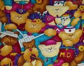 Fabric cats medical scrubs doctor nurse vet 2 yards