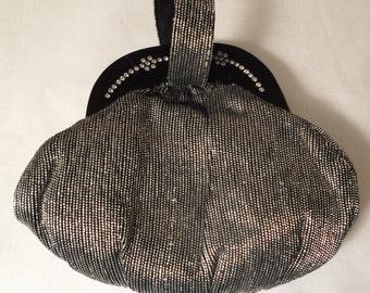 BLACK LUCITE PURSE / Bag / Handbag / Rhinestones / Black / Silver Confetti / Old Hollywood Glam / Retro / Chic / Art Moderne / Accessory