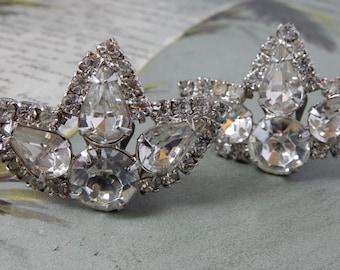 Pr. Clear Rhinestone & Silver Clip On Vintage Earrings