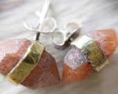 Pecos Diamond Stud Earrings - pink stud earrings - peach earrings - bohmemian earrings - natural earrings - raw stone studs - boho studs