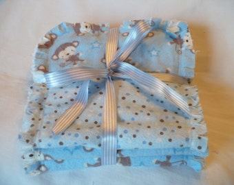 Baby Boy Burp Cloth Set of 3 ~ Fun Monkeys Plaid and Dots in Sky Blue and Brown Chenille Rag Quilted
