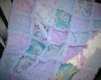 Baby Girl Rag Crib Quilt -Shabby Chic Roses on Pink Lavender and Aqua Ready to Ship