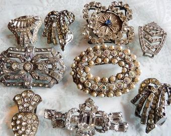 Destash Spares Repair Harvest Rhinestone Diamante Paste Brooches Clips Art Deco Mid Century