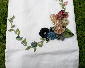 Ribbonwork Ribbon Work Roses Flowers Lingerie Laundry Bag Laundry Travel Tote Lingerie Travel Bag Bride Wedding Gift Romantic Gift for Her