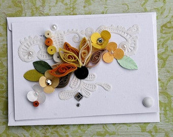 Quilled Sunflower Enclosure Card All Occasion Enclosure Card Wedding, Anniversay, Hostess, Embellished Rhinestones  - Paper Lce and Pearls
