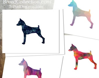 Min Pin - Miniature Pinscher - Dog  Silhouette Note Card Collection -  Digital Download Printable